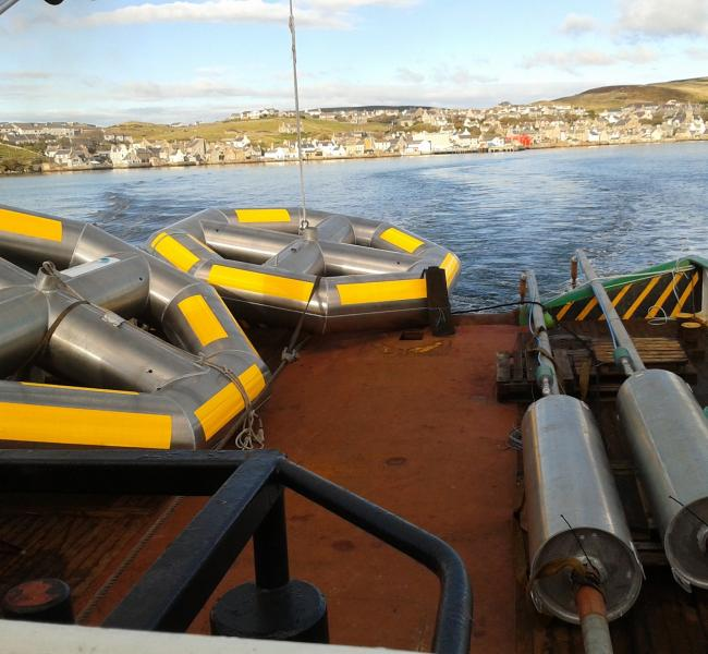 Seatricity Oceanus 1 Floats and Pumps En Route to Site From Strommness
