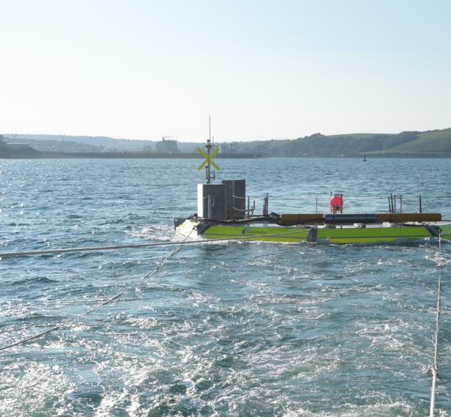 Seatricity Oceanus 2 Under Tow En Route to Wave Hub