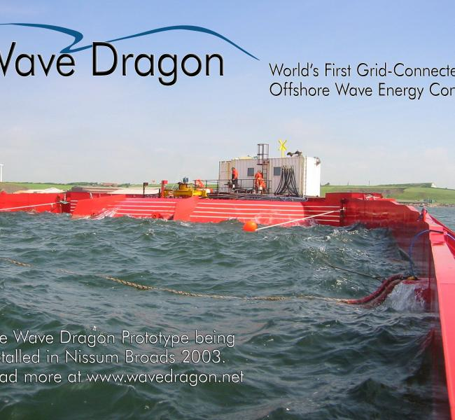 Wave Dragon Prototype in Nissum Broads with Logo