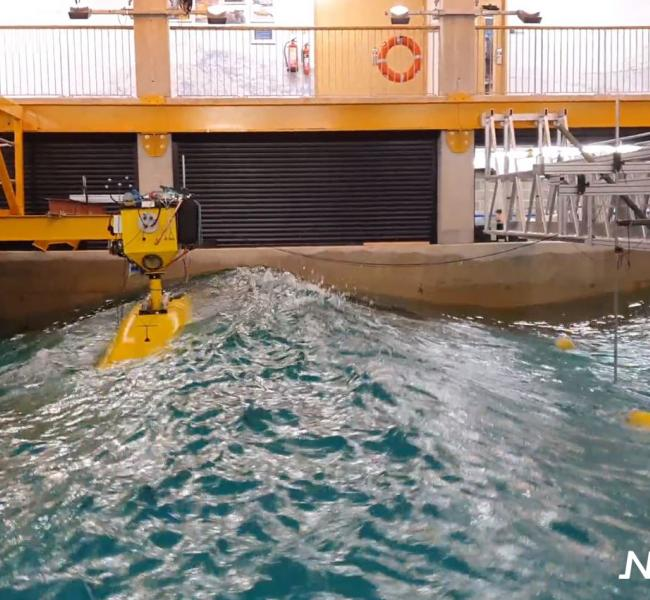 NoviOcean - Wave Energy Converter Coast Laboratory Test March 2020 with Logo