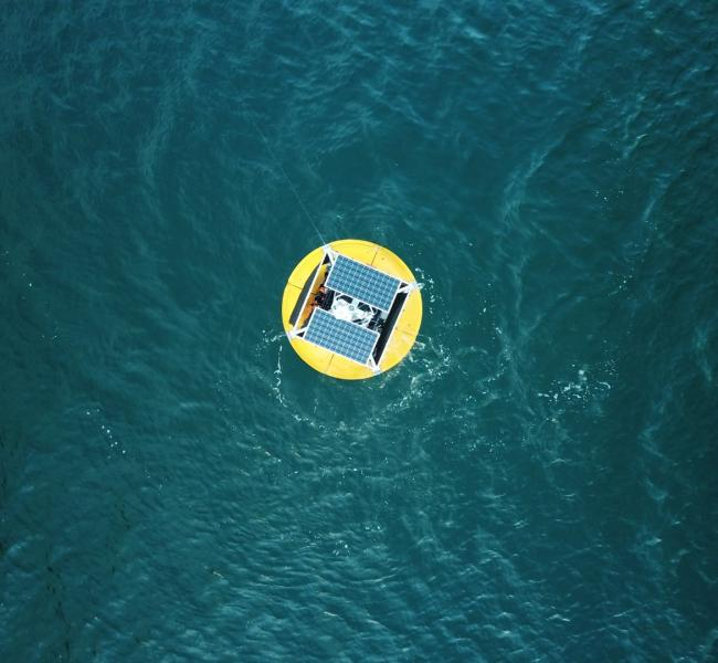 Oneka Water - Bird's-eye View of Wave-Powered Desalination Buoy