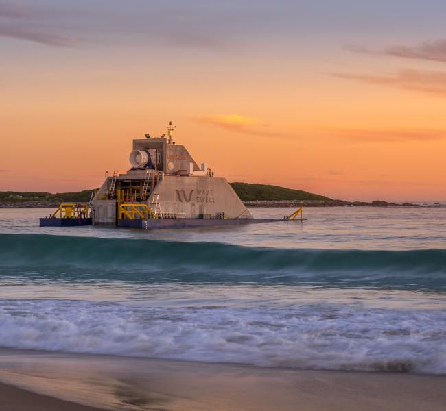 Wave Swell Energy's UniWave200 Installed at King Island (Sunrise Shot)